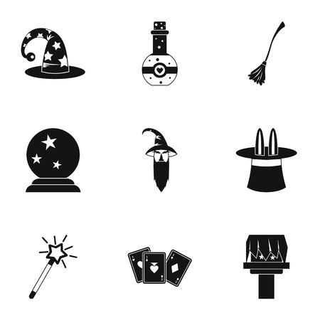 Magic icons set. Simple illustration of 9 magic vector icons for web Stock Illustratie