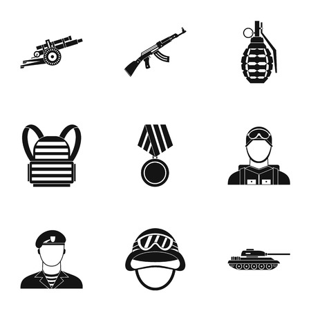 infantryman: Military weapons icons set. Simple illustration of 9 military weapons vector icons for web