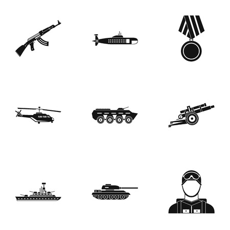 defense: Military defense icons set. Simple illustration of 9 military defense vector icons for web