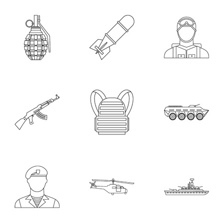 infantryman: Weapons icons set. Outline illustration of 9 weapons vector icons for web