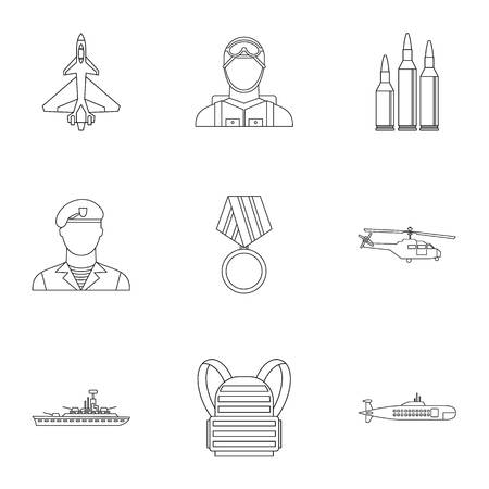 infantryman: Military weapons icons set. Outline illustration of 9 military weapons vector icons for web