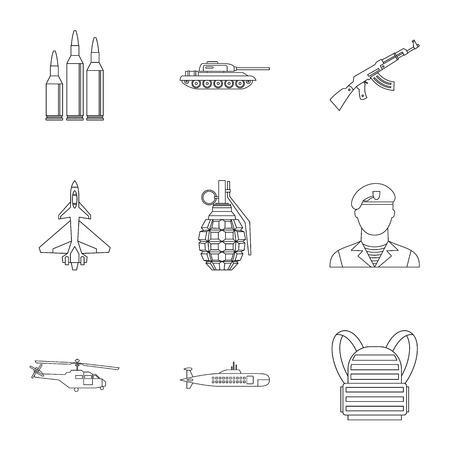 infantryman: Military defense icons set. Outline illustration of 9 military defense vector icons for web
