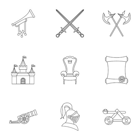 Military middle ages icons set. Outline illustration of 9 military middle ages vector icons for web
