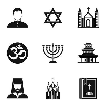 om: Religious faith icons set. Simple illustration of 9 religious faith vector icons for web