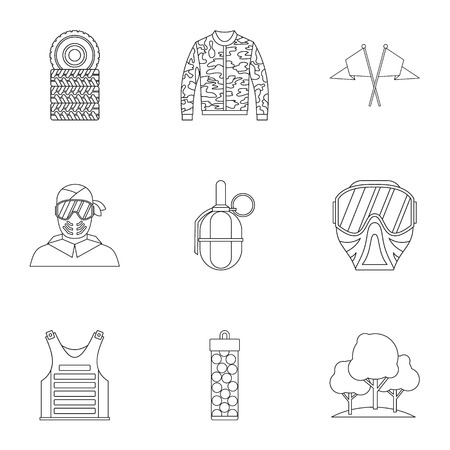 outfit: Outfit paintball icons set. Outline illustration of 9 outfit paintball vector icons for web