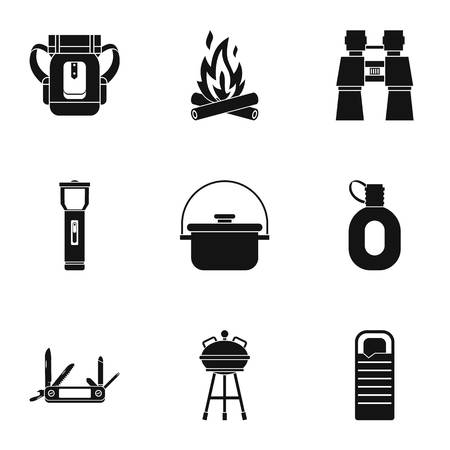 wildlife shooting: Nature tourism icons set. Simple illustration of 9 nature tourism vector icons for web