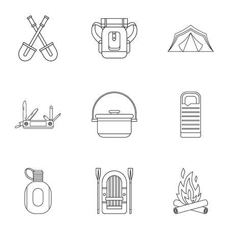 Forest icons set. Outline illustration of 9 forest vector icons for web Ilustração