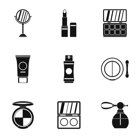 perfume atomizer: Cosmetics icons set. Simple illustration of 9 cosmetics vector icons for web