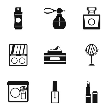perfume atomizer: Beauty icons set. Simple illustration of 9 beauty vector icons for web