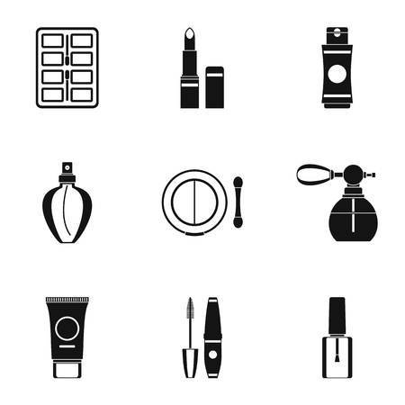 perfume atomizer: Cosmetic products icons set. Simple illustration of 9 cosmetic products vector icons for web