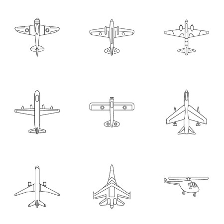 combat: Combat aircraft icons set. Outline illustration of 9 combat aircraft vector icons for web