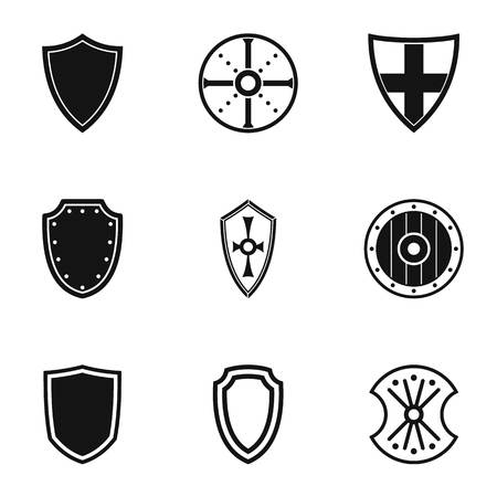 combatant: Protective shield icons set. Simple illustration of 9 protective shield vector icons for web