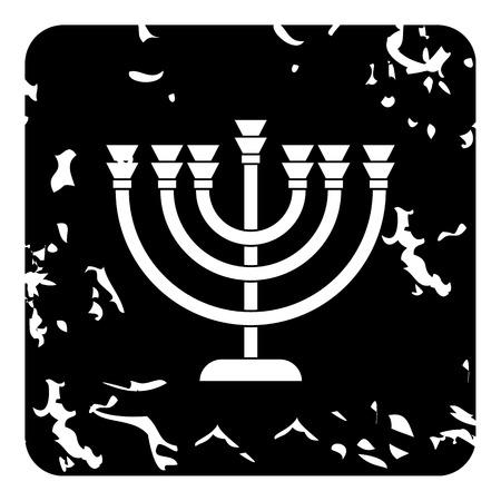 Menorah icon. Grunge illustration of menorah vector icon for web