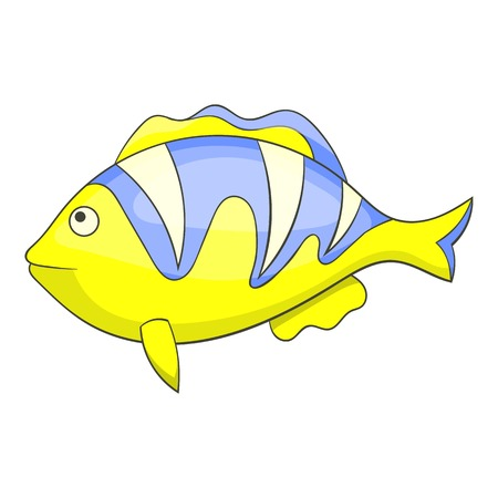 chaetodontidae: Yellow tropical stripped fish icon. Cartoon illustration of yellow tropical stripped fish vector icon for web