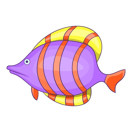 Purple fish with red stripe icon. Cartoon illustration of purple fish with red stripe vector icon for web