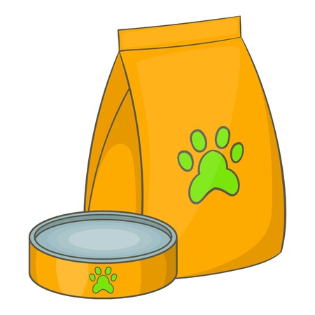 Bag of food for pets and food bowl and icon. Cartoon illustration of bag of food for pets and food bowl vector icon for web Illustration