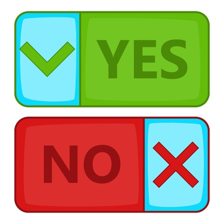 yes no: Yes and No button icon. Cartoon illustration of Yes and No button vector icon for web Illustration