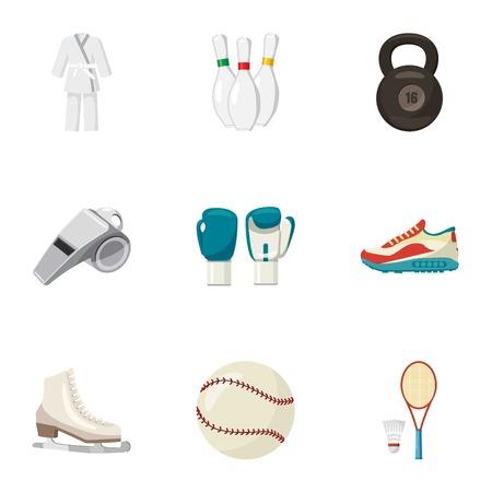 baseball stuff: Sports stuff icons set. Cartoon illustration of 9 sports stuff vector icons for web