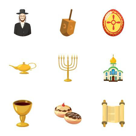 Beliefs icons set. Cartoon illustration of 9 beliefs vector icons for web Illustration
