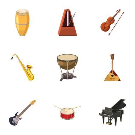 Musical instruments icons set. Cartoon illustration of 9 musical instruments vector icons for web