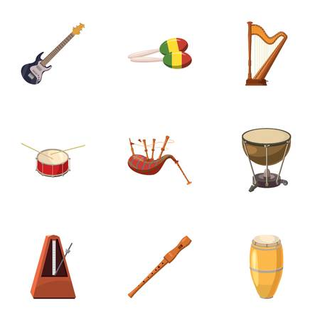 bagpipes: Tools for music icons set. Cartoon illustration of 9 tools for music vector icons for web