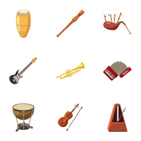 metronome: Device for music icons set. Cartoon illustration of 9 device for music vector icons for web