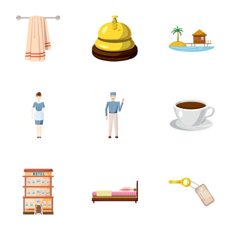 apartment bell: Hostel icons set. Cartoon illustration of 9 hostel vector icons for web Illustration