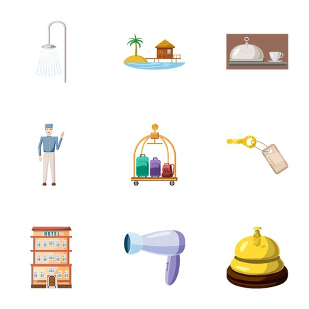 apartment bell: Hostel accommodation icons set. Cartoon illustration of 9 hostel accommodation vector icons for web