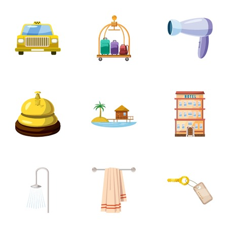 apartment bell: Staying in hotel icons set. Cartoon illustration of 9 staying in hotel vector icons for web Illustration
