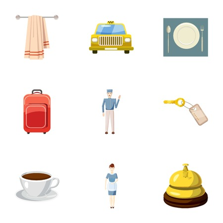 apartment bell: Hotel accommodation icons set. Cartoon illustration of 9 hotel accommodation vector icons for web
