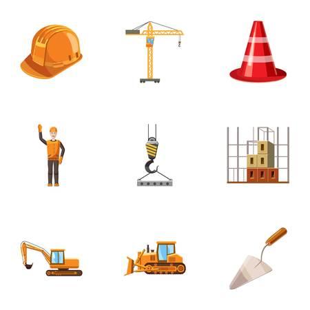 Building tools icons set. Cartoon illustration of 9 building tools vector icons for web Illustration
