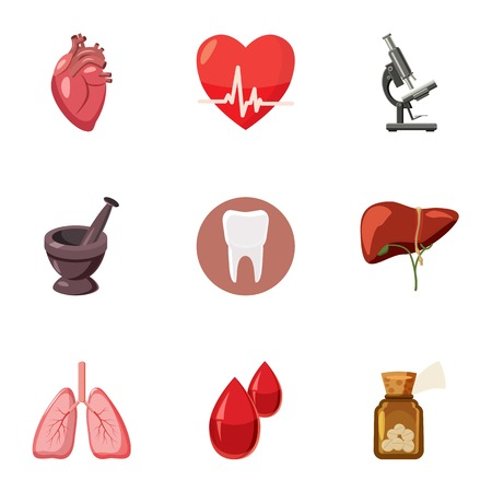 doctoral: Diagnosis icons set. Cartoon illustration of 9 doctoral vector icons for web