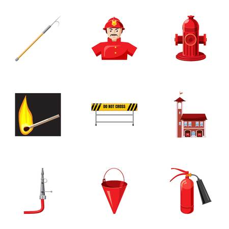 cross match: Firefighter icons set. Cartoon illustration of 9 firefighter vector icons for web Illustration