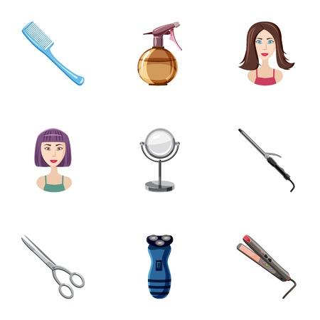 Barbershop icons set. Cartoon illustration of 9 barbershop vector icons for web
