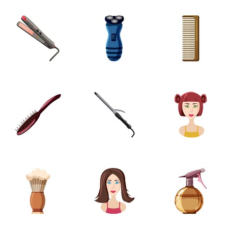 Barber icons set. Cartoon illustration of 9 barber vector icons for web Illustration