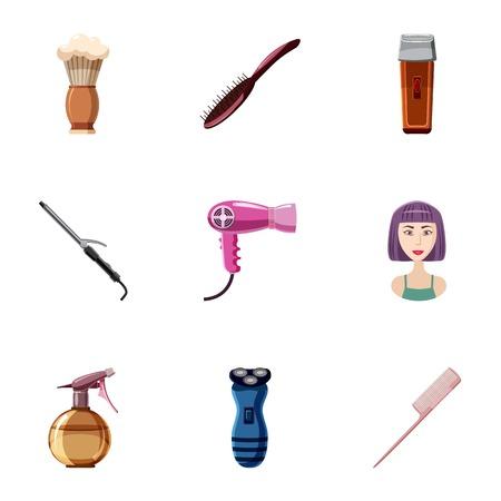 Hair cut icons set. Cartoon illustration of 9 hair cut vector icons for web Illustration