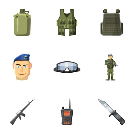 defense: Military defense icons set. Cartoon illustration of 9 military defense vector icons for web Illustration
