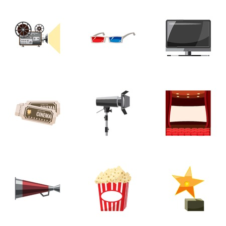 cinematography: Cinematography icons set. Cartoon illustration of 9 cinematography vector icons for web