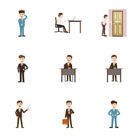 brooding: Business icons set. Cartoon illustration of 9 firm vector icons for web