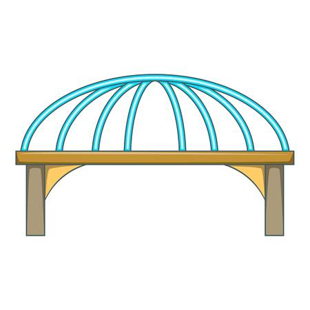 Bridge with steel supports icon. Cartoon illustration of bridge vector icon for web design Illustration