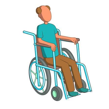 Man in wheelchairicon. Cartoon illustration of man in wheelchair vector icon for web design