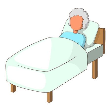 Anziana nell'icona del letto. Illustrazione del fumetto dell'anziana nell'icona di vettore del letto per il web design