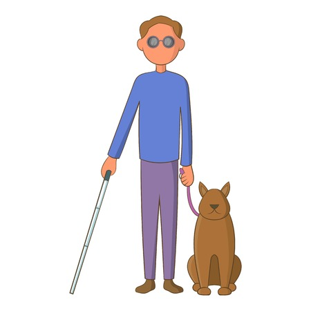 unsighted: Blind man with guide dog icon. Cartoon illustration of blind man with guide dog vector icon for web design