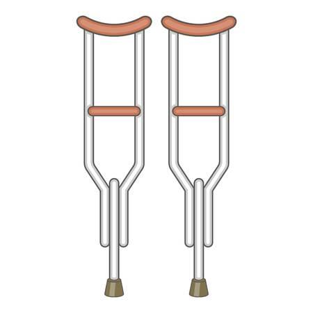 Muletas icono. Ilustración de dibujos animados de icono muletas vector para diseño web