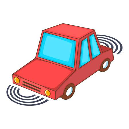 emergency braking: Parking assist system icon. Cartoon illustration of parking assist system vector icon for web design