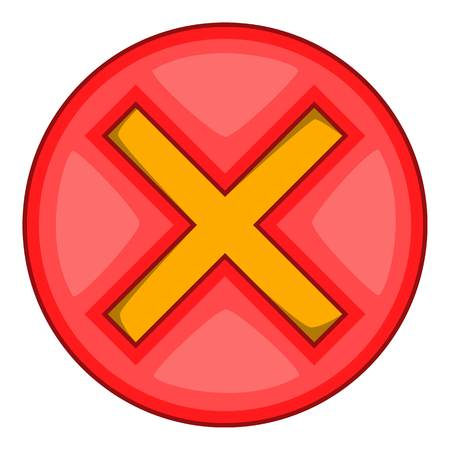 Red cross, check mark icon. Cartoon illustration of red cross, check mark vector icon for web