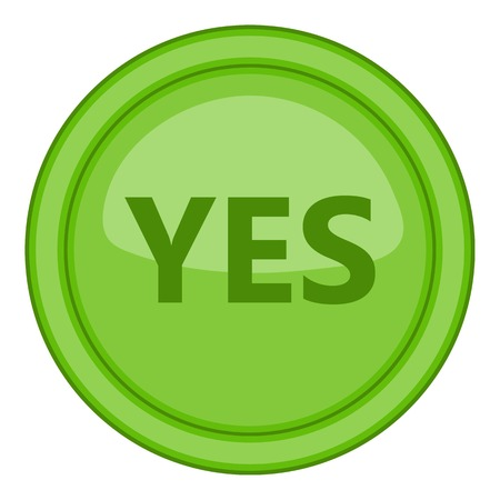 Yes green circle button icon. Cartoon illustration of yes green circle button vector icon for web
