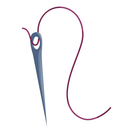 Steel needle with purple thread icon. Cartoon illustration of steel needle with purple thread vector icon for web