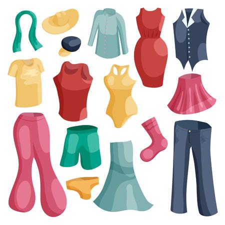 Kinds of clothing icons set. Cartoon illustration of 16 kinds of clothing vector icons for web Illustration