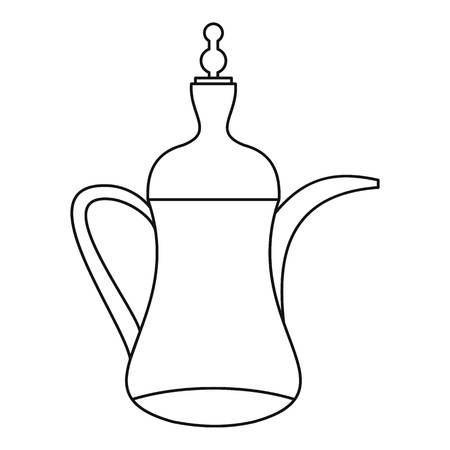 middle eastern food: Arabic coffee pot icon. Outline illustration of arabic coffee pot vector icon for web